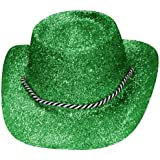 GREEN GLITTER COWGIRL HATS FANCY DRESS ACCESSORY PERFECT FOR HEN PARTY COWBOY COSTUMES STAGE SHOW DANCE SHOWS