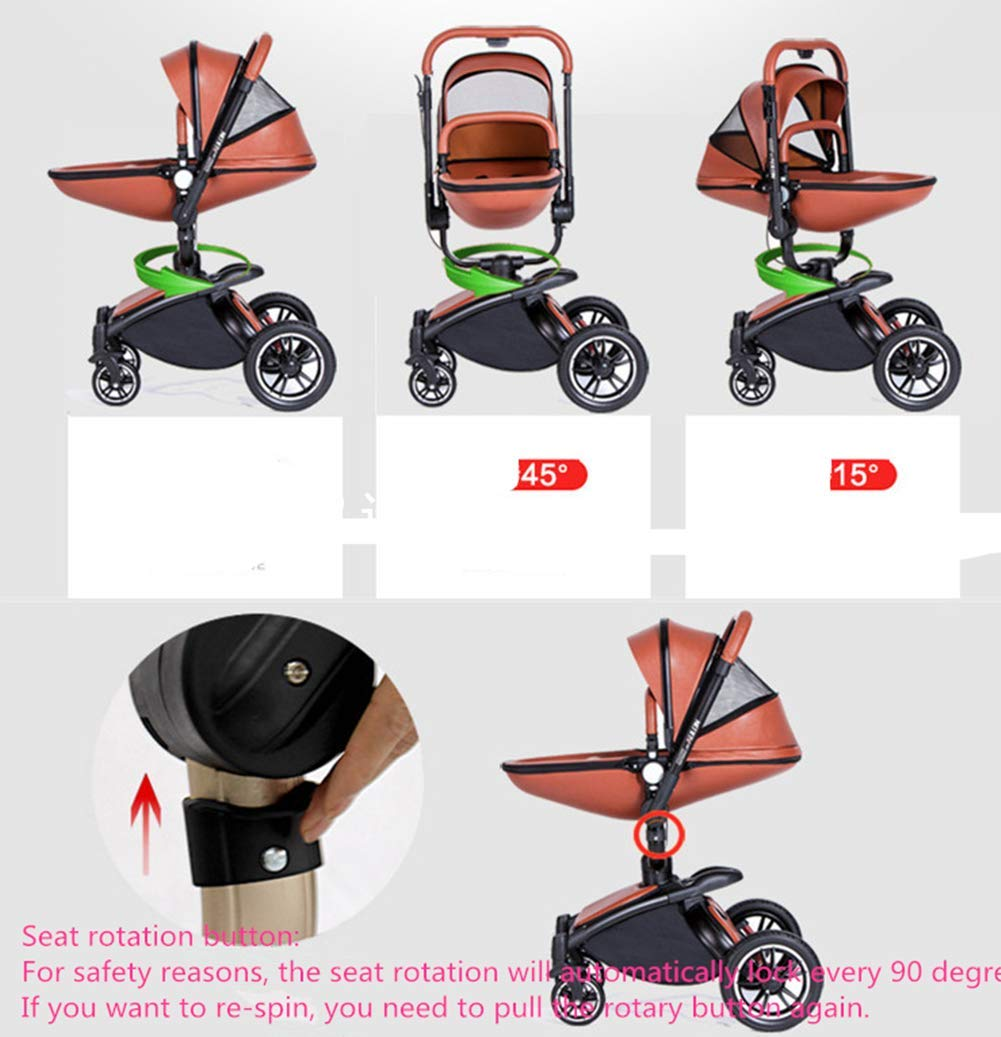 Baby Stroller High Landscape Foldable Two-Way Baby Car Can Sit Lie Children Bb Cart 360 Degree Can Be Rotated Ddpp Aluminum frame. Adjustable weather shield. Big sleeping basket. High view. Reversible stroller seat. Folding shock absorber. The aluminum alloy frame has a good luster. It is lighter than iron (or steel, copper) and does not rust, so it can be used for a long time; the adjustable handlebar can meet the needs of people of different heights and can adjust the push position; the reversible stroller seat makes the baby easy to face For parents or facing the world. .PU wheel, and can roll on rough terrain, such as grass, gravel road, sidewalk, sand and so on. The rotating front wheel can be locked in a precise position, and the suspension spring mounted on it effectively absorbs different vibrations to protect the baby's brain and body. The one-touch parking brake brakes both rear wheels quickly and thoroughly, keeping the baby away from danger and risk. 2