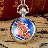 Cutogain Silver Christmas Vintage Style Pocket Chain Watch Christmas Pocket Watch with Necklace Gift, 8