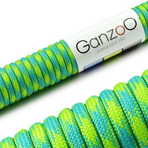 Paracord 550 Seil, 31 Meter, für Armband, Knüpfen von Hundeleine oder Hunde-Halsband zum selber machen / Seil mit 4mm Stärke / Mehrzweck-Seil / Survival-Seil / Parachute Cord belastbar bis 250kg (550lbs), Farbe: türkis, grün, Marke Ganzoo
