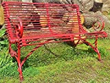 Casa Padrino Schmiedeeisen 2er Gartenbank - Gartenbank mit Klauenbeine, Farbe:Vintage rot