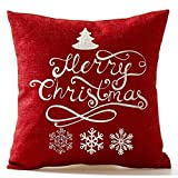 beautytt Christmas Pine Tree Snowflake Merry Christmas In Red flax Throw Pillow Case Cushion Cover Home Office Living Room Decorative Square 18 X 18 inch Christmas Gifts;white+ red
