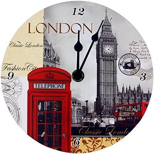 London Tourist High Lights - Big Ben, Roter Bus, Telefonzelle - Wanduhr LP19987
