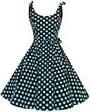 Bbonlinedress Vestidos de 1950 Estampado Vintage Retro Cóctel Rockabilly con Lazo Black Blue Big Dot M