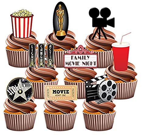 Movie / Film Night Party Pack, 36 Cup Cake Toppers - Edible Stand Up Decorations