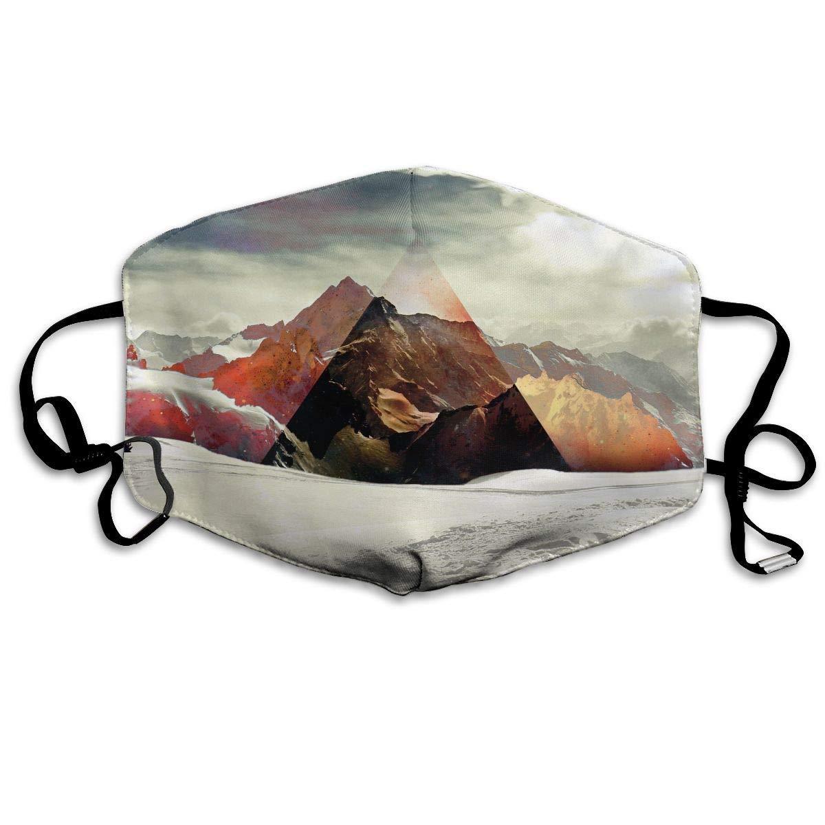 Daawqee Máscara de Boca, Antipolvo Cubierta de Boca Abstract Mountain Triangle Priint Reusable Washable Earloop Máscara de Boca for Men Women