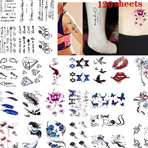 Fishshop tatuaggi temporanei 120 sheets ladies sexy labbra rosse animali fiori tatuaggio istantaneo di varietà di modelli impermeabili sweatproof party girls attraenti tatuaggi emulational