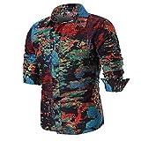 IMJONO Männer Bluse Sommer beiläufige dünne Lange Ärmel Bedruckte Shirt Top (EU-50/CN-XL,C10-Mehrfarbig)
