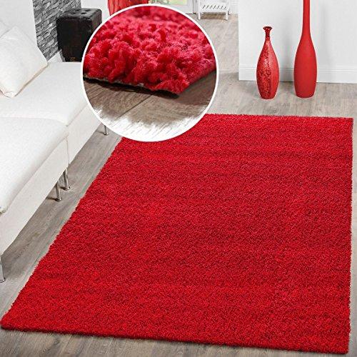 T&T Design Alfombra Shaggy Pelo Largo Moderna Monocolor En Rojo Precio