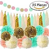 Paxcoo 35 piezas de oro de menta de papel de tono de papel pom pom Poms borla guirnalda para fiesta de bienvenida al bebé decoraciones