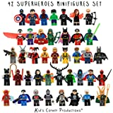 Kids Corner Productions® - Super Heroes Lego Figuras 42 Set Lot Mini Figuras Marvel and DC Comics - Bolso de fiesta con Batman, Spiderman, IronMan, Thor, DeadPool y muchos más - Compatible con Lego ...
