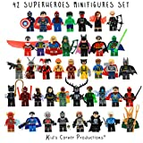 Kids Corner Productions - Super Heroes Lego Figures 42 Set Mini Figure Figura Marvel e DC Comics - Borsa da festa con Batman, Spiderman, IronMan, Thor, DeadPool e molti altri - Compatibile con Lego