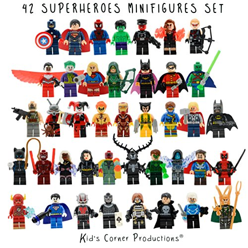 Kids Corner Productions® - Superhelden Lego Figuren 42 Set Los Mini Figuren Marvel und DC Comics - Partytasche mit Batman, Spiderman, IronMan, Thor, DeadPool und vieles mehr - Kompatibel mit (Kid Superhelden)