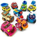 FYX Spielzeug für Kleinkinder - Set Push und Go Reibung powered Auto Spielzeug 9 Pcs Set Auto,Zug, Hubschrauber, Motorräder, Bulldozer Mixer