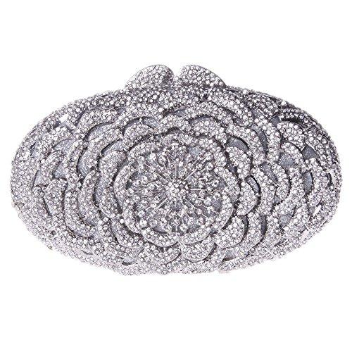 Santimon Clutch Delle Donne Fiore Borsellini Diamante Cristallo Strass Borse Da Festa di Nozze Sera Con Tracolla Amovibile 8 Colori Argento