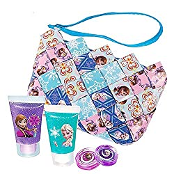 Frozen Candy Wrapper Wristlet Purse, Body Glitter and Lip Gloss Bundle