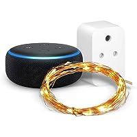Echo Dot (Black) combo with Amazon Smart Plug and Amazon Brand - Solimo 50 LED Copper String Light (Warm White)