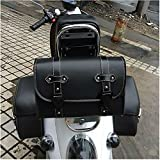 Motorrad Satteltasche PU-Leder Werkzeug Rolle Motor Side Gepäck Travel Tool Hecktasche mit 2 Befestigungsriemen Schwarz