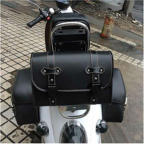 Borsa da sella per moto Borsa da viaggio in pelle per utensili Cinghia laterale da viaggio per bagagli con 2...