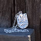 Collar de plata con flor estampada en dije con cadena elegante 925 para mujer