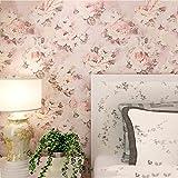 AMCER 3D Wall Paper Rolls Vlies geprägte Blumenmuster Wallpaper Wandbild für Wohnzimmer Schlafzimmer Büro,D_1 Volume