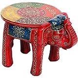 Mangal Murti Elephant Shape Handpainted Wooden Round Stool