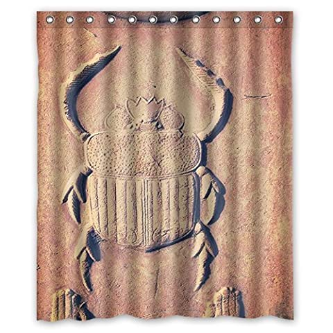 Ancient Egypt Scarab Fresco Background Waterproof Shower Curtain/Bath Curtain--Size: 60