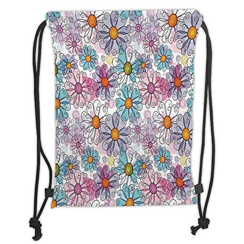 Juzijiang Drawstring Sack Backpacks Bags,Floral,Retro Spring Floral Pattern Grunge Funky Style Inspired Colorful Daisies Bohemian Decor Print,Multi Soft Satin C,5 Liter Capacity,Adjustable. Funky Floral Print
