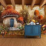 Carta da parati murale in 3D Fiaba dei cartoni animati Mondo Fungo Casa Farfalla Fiore Foto Sfondo Camera per bambini Wallpaper, 300 * 210Cm