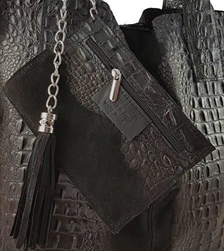 FreyFashion - Made in Italy, Borsa tote donna Schwarz Kroko