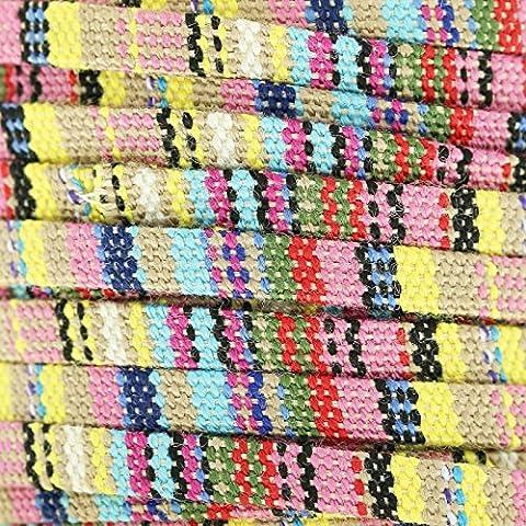 Lacet coton ethnique 5 mm Pastel Mix x1m