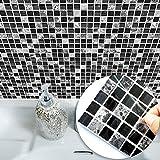 HyFanStr 20 x 20cm Mosaik Aufkleber Fliesenspiegel Fliesen Aufkleber Küche Wand Aufkleber Schwarz