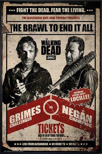 Close Up The Walking Dead Poster Grimes vs Negan Fight (93x62 cm) gerahmt in: Rahmen schwarz