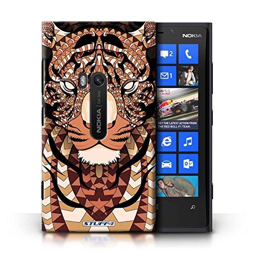 Coque en plastique pour Nokia Lumia 920 Collection Motif Animaux Aztec - Loup-Pourpre Tigre-Orange