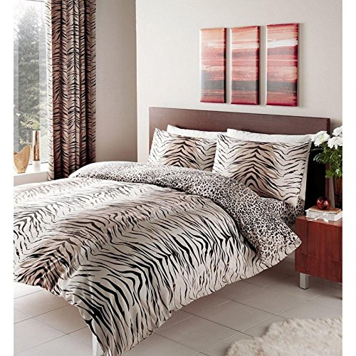 Gaveno Cavailia TIGER Printed Quilt Duvet Cover & Pillowcase Bed Set BROWN – DOUBLE SIZE