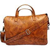 USARMANI Original Premium Brown Synthetic Leather15.6 inch Laptop Messenger Bag, Padded Laptop Compartment Office Bag (L…