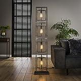 famlights Saskia Lampadaire rectangulaire en métal argenté 4 x E27 Design industriel élégant pour salon, chambre à coucher La