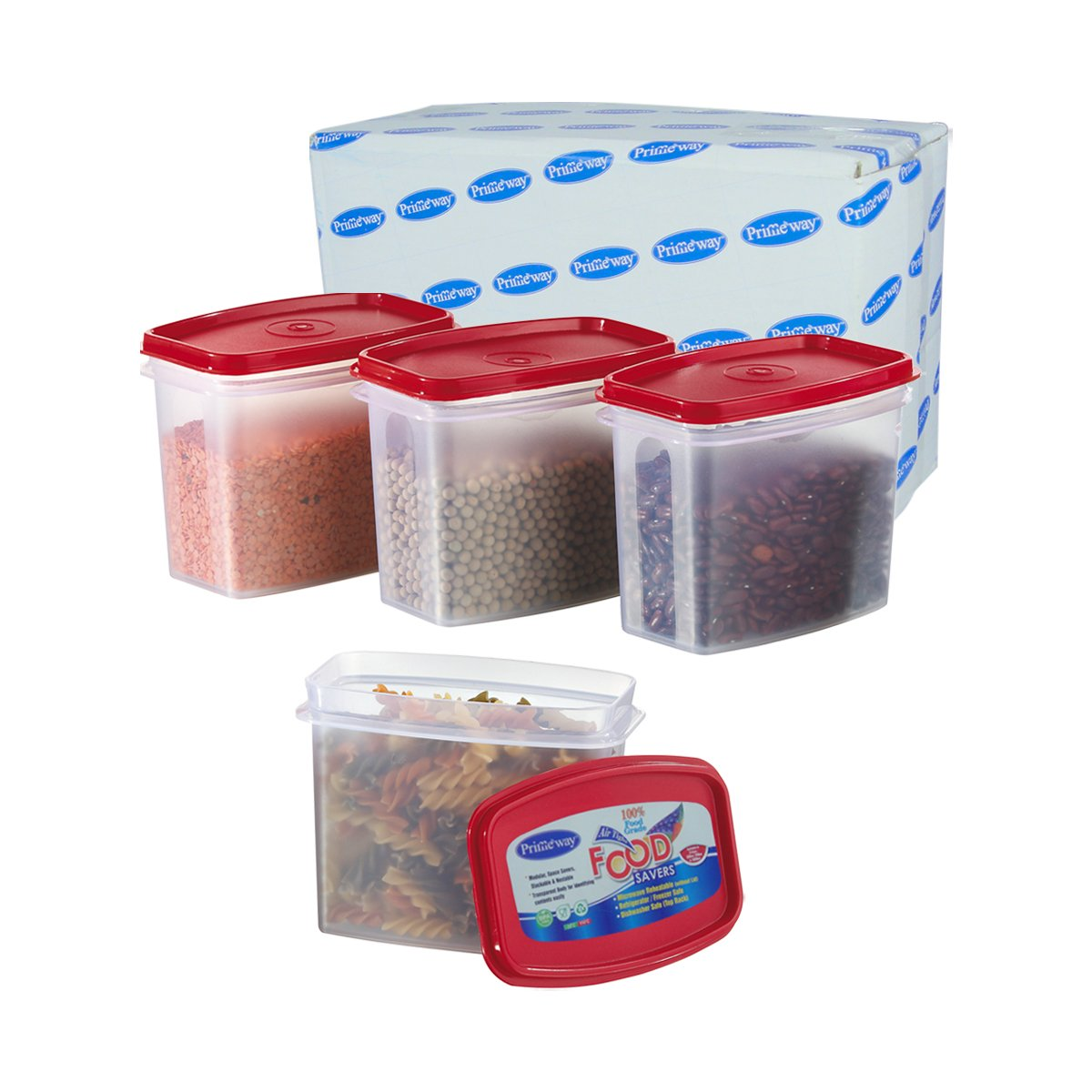 Buy Primeway Modular Kitchen Food Savers Plastic Storage Containers, 1  Litre, Set Of 4 Pcs, Red Online At Low Prices In India   Amazon.in