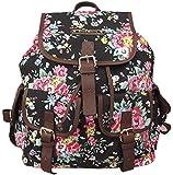 Anna Smith (By LYDC) Floral Frances Backpack / Aztec Ladies Girls Designer Flower Print Canvas Rucksack