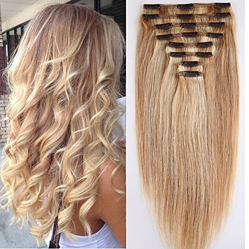 Extension capelli veri clip mèches double weft 8 fasce remy human hair xxl full head set lisci lunga 55cm pesa 160g, #18 biondo cenere mix #613 biondo chiarissimo
