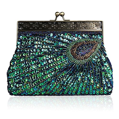 SSMK  Evening Bag, Damen Clutch blau - peacock blue