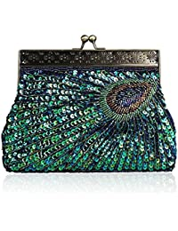 Peacock Tail Handbag For Women Sequins Beaded Evening Bag Wedding Bridal Party Prom Clutch (Peacock Blue) By Ibella