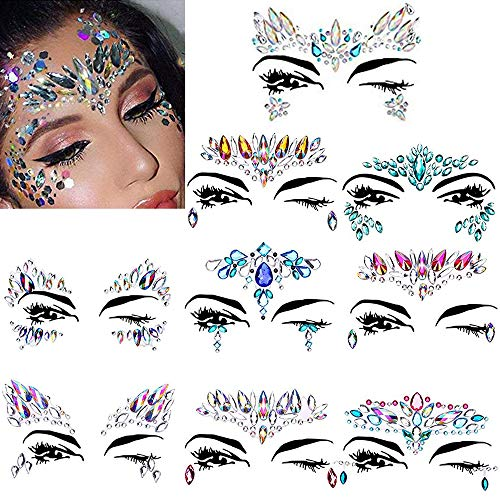 Amaza Gesicht Edelsteine,Temporäre Tattoos Gesichts Aufkleber, Schmucksteine Selbstklebend Gesicht, Glitter Bindi Strass Juwelen Face Sticker für Glitzer Effekt, Parties, Shows, Make-up (9 Stück)