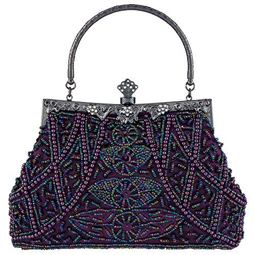 Bagood Women's Vintage Clutches Purses Evening Bags Handbag Shoulder Bag Seed Beaded Sequin Flower for Wedding Bridal Prom Party Mine Purple (Purse Bag Strap)
