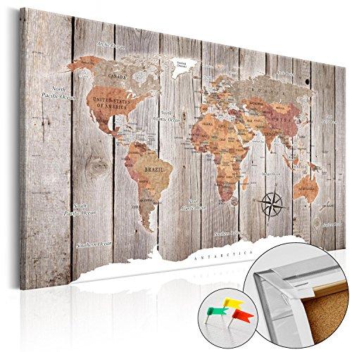 murando - Weltkarte Pinnwand 60x40 cm - Bilder mit Kork Rückwand - 1 teilig - Leinwandbilder - Korktafel - Fertig Aufgespannt - Wandbilder XXL - Kunstdrucke - Karte Welt Landkarte Kontinent k-C-0050-p-b (Stoff Poster Weltkarte)