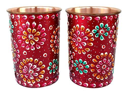 Rastogi bricolage en cuivre pur gobelets Verre peinte à la main Art travail extérieur côté Rouge (2)