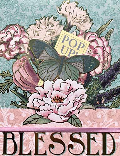PUNCH STUDIO Vintage Floral Bungee Pop Up Mini Pocket Gold Folie Edelstein Notizblock ~ Blessed 60749 -