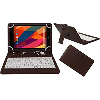 Acm Premium Usb Keyboard Case For Micromax Canvas Tab P681 Tablet Cover Stand With Free Micro Usb Otg - Brown