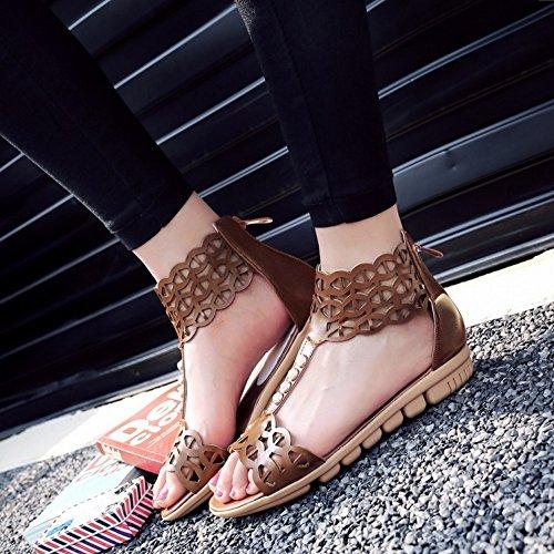 COOLCEPT Femmes Mode T-Strap Sandales Orteil ouvert Appartement Chaussures With Fermeture eclair Marron