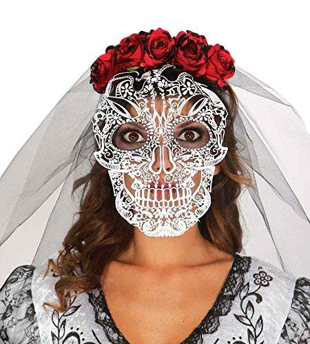 667 - Totenkopf-Diadem mit Schleier (Gleichen Tag Versand Halloween Kostüme)